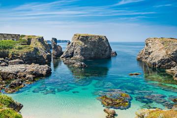 Beach with emerald water in the coast of island Belle Ile en Mer