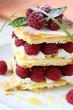 dessert with fresh raspberries and cream