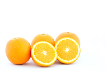 Orange fruit on white background