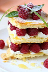 dessert with fresh raspberries and cream