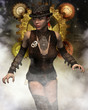 Steampunk Frau im Nebel