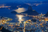 Fototapety Night view of mountain Sugar Loaf and Botafogo in Rio de Janeiro