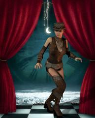 Steampunk Frau auf einer Bühne