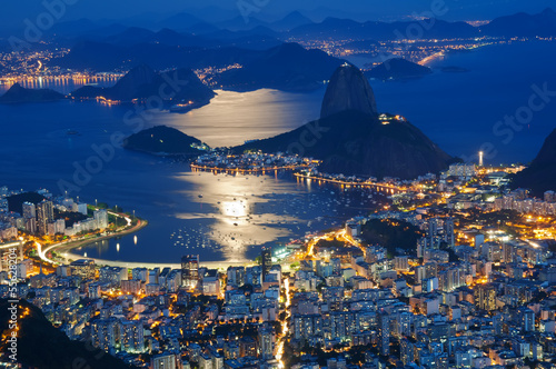 Poster Night view of mountain Sugar Loaf and Botafogo in Rio de Janeiro