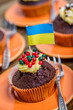 mixed tartlets with the ukraine flag