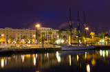 Night view of embankment in the port of Barcelona. Spain