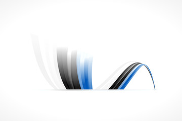Abstract Estonian waving flag isolated on white background