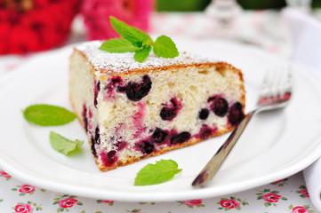 A piece of blackcurrant sponge cake