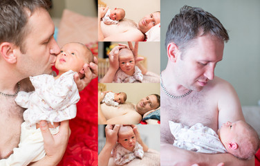 Collage of happy father and newborn baby daughter cuddling