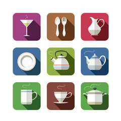kitchen tableware set of icons. vector illustration isolated