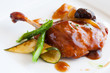 Grilled duck with sweet fruit sauce.