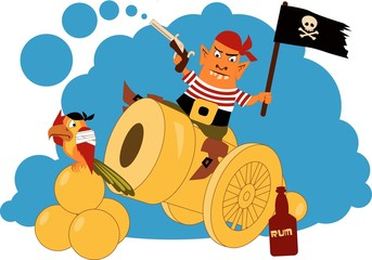 Cartoon pirate on a cannon