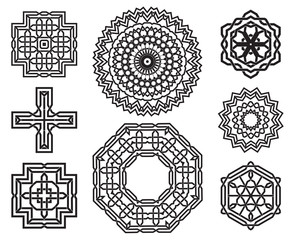 Set of celtic knot design elements