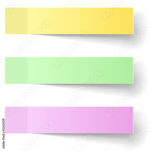 Color sticky notes vector template with shadow.