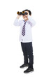 Business kid looking through binoculars - isolated