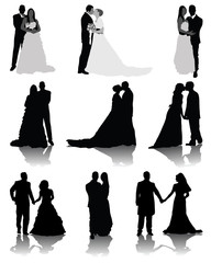 Wedding silhouettes, vector illustration