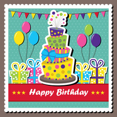 Birthday card with topsy-turvy cake