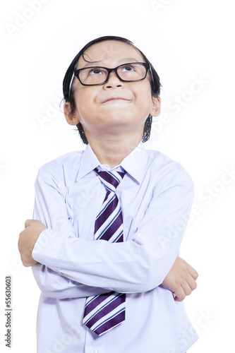 Little businessman crossed arms - isolated
