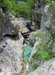 Evorsion channel of Soca river, Slovenia