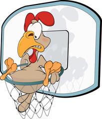 Cockerel the basketball player. Cartoon