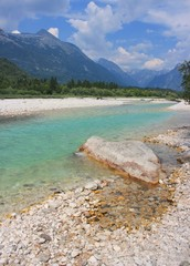 Soca river near Bovec, Julian Alps, Slovenia