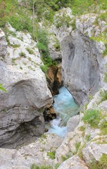 Soca river narrow riverbeds, Julian Alps, Slovenia