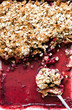 Fruit oatmeal crumble in baking tray