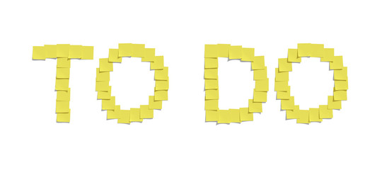 Yellow memo notes illustrating TO DO including clipping path