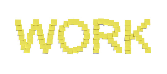 Yellow memo notes illustrating WORK including clipping path