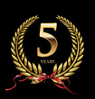5 years Anniversary golden laurel wreath