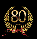 80 years Anniversary golden laurel wreath