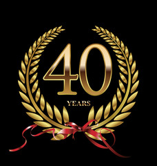 40 years Anniversary golden laurel wreath
