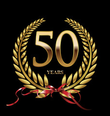 50 years Anniversary golden laurel wreath