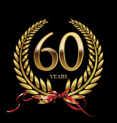 60 years Anniversary golden laurel wreath