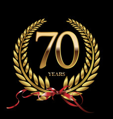 70 years Anniversary golden laurel wreath