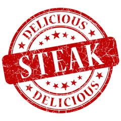 steak red grunge stamp