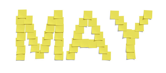 Yellow memo notes illustrating MAY including clipping path