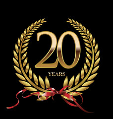 20 years Anniversary golden laurel wreath