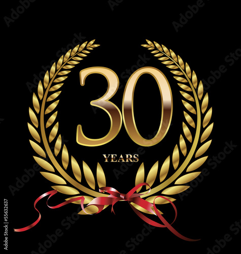 30 years Anniversary golden laurel wreath