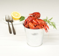 small pail with river lobsters