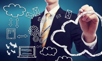 Connectivity through cloud computing concept