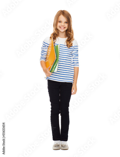 child holding colorful folders