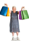 Happy old woman with shopping bags
