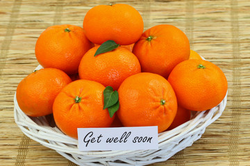 Get well card with basket full of mandarines