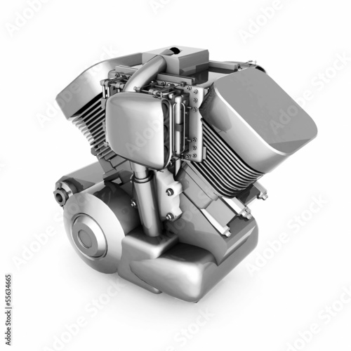 chromed motorcycle engine
