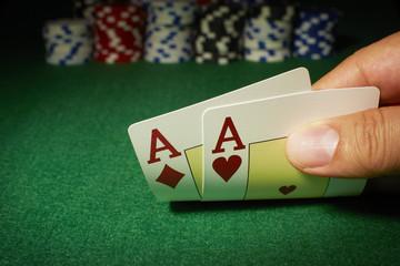 Poker, Tisch, Jeton, 2 Asse