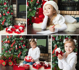 Funny girl in Santa hat writes letter to Santa. Christmas dreams