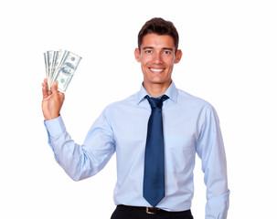 Stylish young man holding cash dolllars