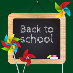 Back to school vector illustration with chalk board
