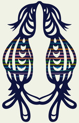 Openwork silhouette of couple of birds. symmetrical pattern